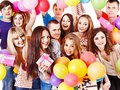 Group people on party with balloon isolated Stock Images