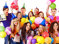 Group people on party happy with balloon isolated Stock Photos