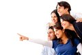 Group of people pointing away Royalty Free Stock Photo