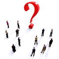 Group of people with questions thinking concept or quest for answers on a white background Royalty Free Stock Photo