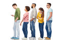 Group of people in queue with smartphone Royalty Free Stock Photo