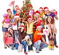 Group people and  Santa. Stock Photography