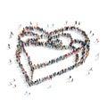 Group people shape gift heart