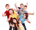 Group people showing thums up. Royalty Free Stock Photo