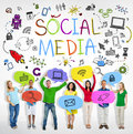 Group of people with social media theme multiethnic Royalty Free Stock Photo