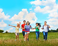 Group people summer outdoor happy Stock Images