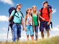 Group people summer outdoor happy with children Stock Image