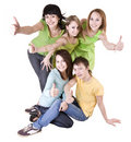 Group of people throwing out thumbs super. Royalty Free Stock Photography