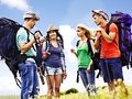 Group people on travel with backpack summer outdoor Royalty Free Stock Images