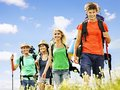 Group people on travel with backpack summer outdoor Royalty Free Stock Image