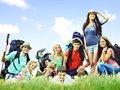 Group people on travel with backpack summer outdoor Stock Photography