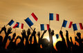 Group of People Waving French Flags Royalty Free Stock Photo