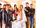 Group people at wedding dance happy Stock Photos