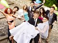 Group people at wedding outdoor happy high angle view Stock Photo