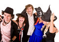 Group of people in  witch costume. Royalty Free Stock Image