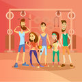 Group of people working out in a gym and dressed in sports clothes. Fitness cartoon people characters. Vector