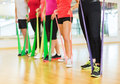 Group of people with working out with rubber bands Royalty Free Stock Photo