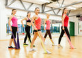 Group of people working out with rubber bands Royalty Free Stock Photo