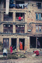 A group of people working outside, Bhaktapur Royalty Free Stock Photos