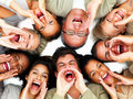 Group of people yelling-hey!! Stock Photo