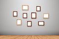 Group photo frames on the wall Royalty Free Stock Photo