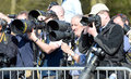 Group of photographers press at badminton horse trials Stock Images