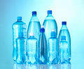 Group plastic bottles of water Royalty Free Stock Photos