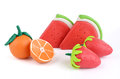 Group of plasticine fruits Royalty Free Stock Photo