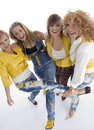 Group of playful adult females Royalty Free Stock Photo