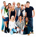 Group Portrait of happy young people,Isolated Stock Photography