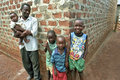Group portrait Ugandan family, father and children Royalty Free Stock Photo