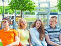 Group portrait of young college students Royalty Free Stock Photo