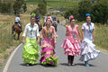 Group portrait young women colorful costumes spain province huelva region andalusia pilgrims on their way to the pilgrims church Royalty Free Stock Photography