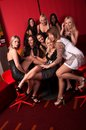 Group of pretty girls in night club Royalty Free Stock Photo