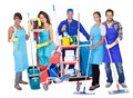 Group of professional cleaners Royalty Free Stock Images