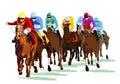Group of racehorse and jockeys