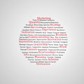 Group of red marketing terms on grey background Royalty Free Stock Photos
