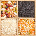 Group of rice beans and lentils isolated on white background in a square box Royalty Free Stock Photography