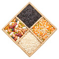 Group of rice beans and lentils isolated on white background in a square box Stock Photography