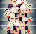 Group of sad angry people hiding real emotions behind clown mask Royalty Free Stock Photo