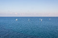 Group of sailing boats on the blue Mediterranean Sea Royalty Free Stock Photo
