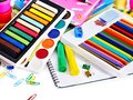 Group of school supplies. Royalty Free Stock Image