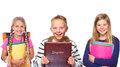 Group of schoolchildren three young Royalty Free Stock Photos