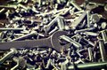 Group of screws and wrenches. Royalty Free Stock Photo