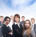 A group of seven young business people Royalty Free Stock Images