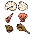 Cute group of shell fish cartoon illustration motif set. Hand drawn isolated marine life elements. Clipart for ocean text