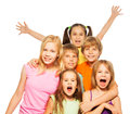 Group shoot of a six funny kids happy boys and girls on white background Royalty Free Stock Photos