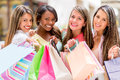 Group of shopping women happy wish bags and smiling Royalty Free Stock Photos