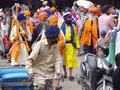A group of sikhs in india in national dress near the golden temple amritsar turbans men and women Royalty Free Stock Photos