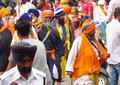 A group of sikhs in india in national dress near the golden temple amritsar turbans men and women Stock Image